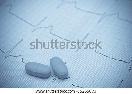 electrocardiogram graph and pills
