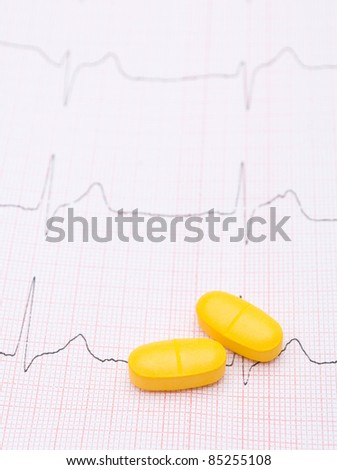 electrocardiogram graph and pills