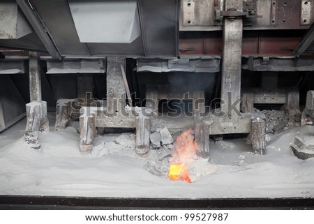 Electrochemical, electrolytic process of production of aluminium on factory - stock photo
