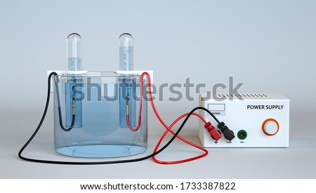 Electrolysis of Water. Oxygen and Hydrogen Production with test tubes. 3d rendering. Foto stock ©