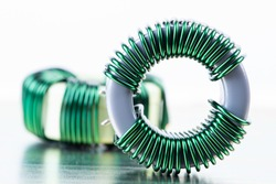 Electromagnetic Component Inductor Copper Coil Close-up