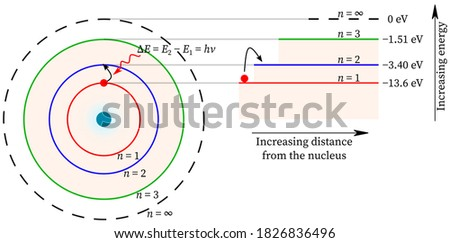 Electron jump from lower energy to higher energy in hydrogen and energy is absorbed Bohr atomic model atom structure theory nucleus absorption shell orbit principal quantum numbers