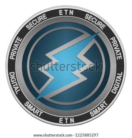 Electroneum (ETN) coin isolated on white background; electroneum cryptocurrency