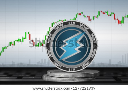 Electroneum (ETN); cryptocurrency coins - Electroneum on the background of the chart. 3d illustration