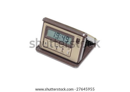 electronic alarm clock under the white background