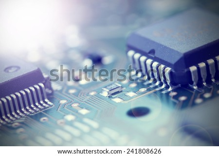 Electronic Board. Small depth of field. Lens flare