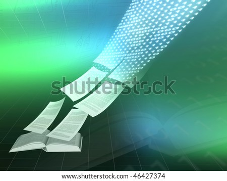 Electronic book illustration of pages streaming into the web