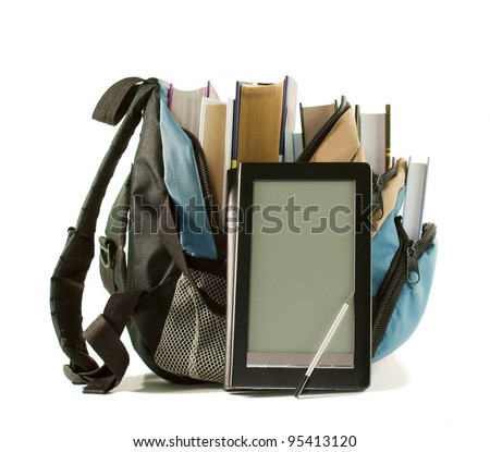 Electronic book with books in backpack on the white background