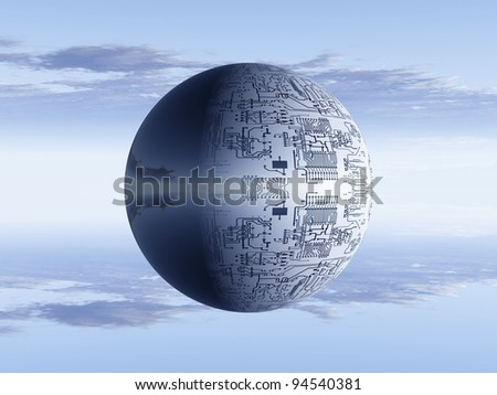 electronic  bubble on a sky background