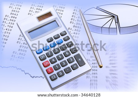 Electronic calculator and pen on a background filled with financial data and charts