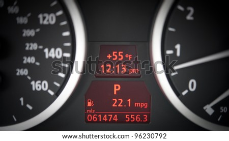 Electronic car dashboards with tachometer, speedometer and gasoline gouges