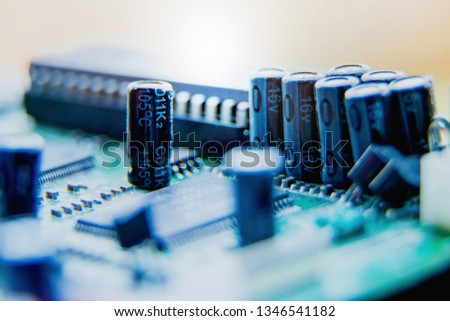 Electronic circuit board,Capacitors, used for wallpaper, used as illustrated book,closeup