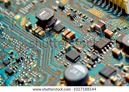 Electronic circuit board close up. #1027188544