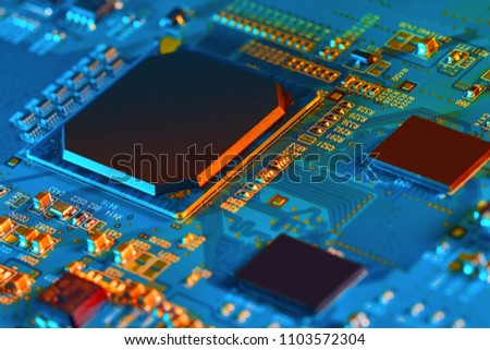 Electronic circuit board close up. #1103572304