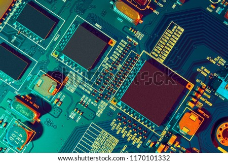 Electronic circuit board close up.  #1170101332
