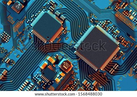 Photo of  Electronic circuit board close up.