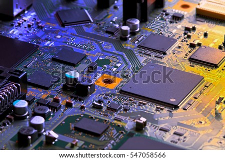 Electronic circuit board close up. #547058566