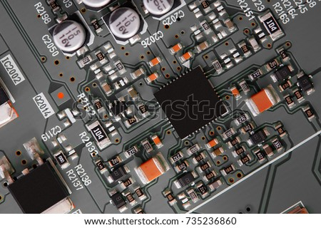 Electronic circuit board close up. #735236860