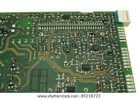 Electronic circuit board close up, isolated on white background.