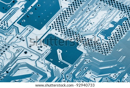 Electronic circuit board close up. X-ray effect. - stock photo