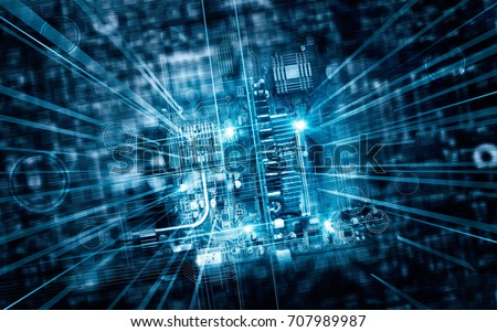 Electronic circuit board futuristic server code processing and abstract computer hardware technology mainboard, technology concept