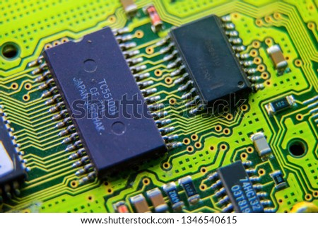 Electronic circuit board, ic, used for wallpaper, used as illustrated book,closeup