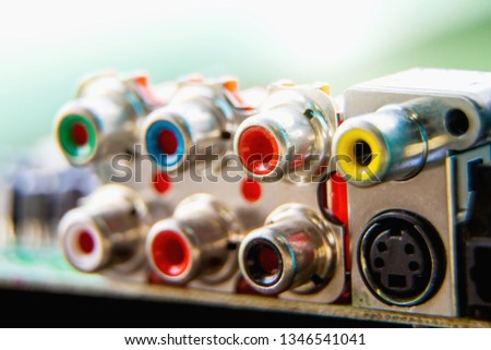 Electronic circuit board,Jack RCA, used for wallpaper, used as illustrated book,closeup