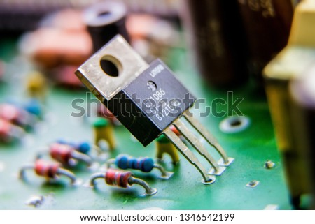 Electronic circuit board, transistor, used for wallpaper, used as illustrated book,closeup