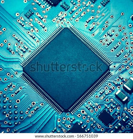electronic circuit board with processor #166751039
