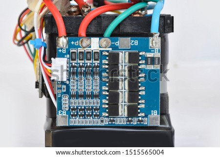Electronic circuit parts, electronic waste with the white background.