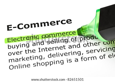Electronic commerce highlighted in green, under the heading E-Commerce.