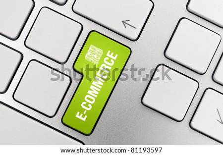 Electronic commerce key on modern aluminum keyboard.