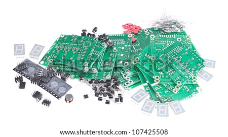 Electronic components isolated on white background
