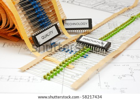 Electronic devices on schematic background