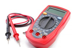 Electronic digital multimeter isolated on white background with probes. Digital multimeter with red and black wires. Electronic multimeter isolated on white background close up