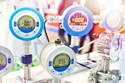 Electronic digital pressure gauge for precision measurements at an industrial exhibition