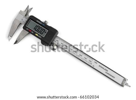 Electronic digital vernier caliper isolated on white