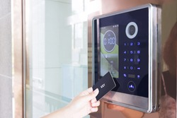 Electronic door lock opening by security card / security card, key, smart, lock opening