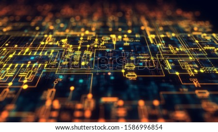 Electronic / Electric Project. Electronic Diagram: Capacitors, Resistors, Transistors, Diodes. Schematics and Diagrams of the Electric Circuit. the Depth of Field. 3d Illustration. Stock photo ©