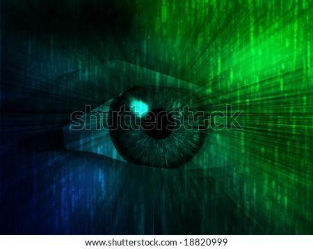 Electronic eye with glowing energy effects, digital illustration