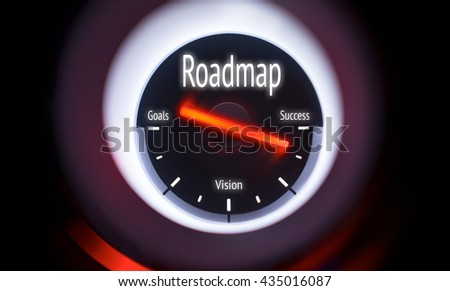 Electronic gauge displaying a Roadmap Concept #435016087