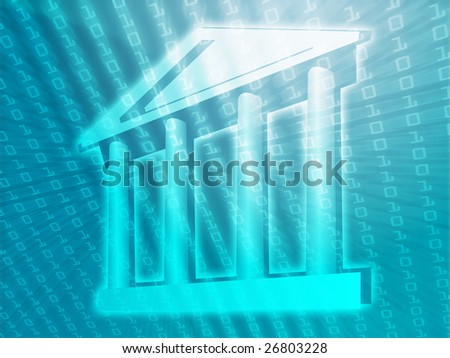 Electronic government, e-government illustration with digital data