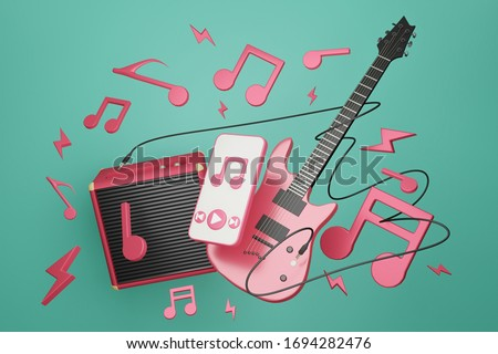 Electronic guitar with Amplifier guitar and smartphone playing music.Melody note float around on green background.3D rendering.