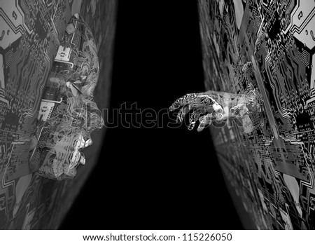 electronic hand and face - stock photo