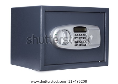 Electronic home safe isolated on white background.