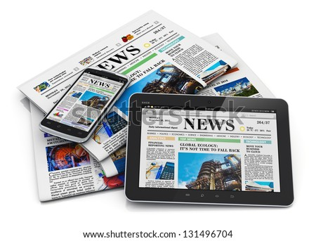 Electronic internet web and paper media concept: tablet PC computer, smartphone and heap of business office newspapers with financial news isolated on white background with reflection effect