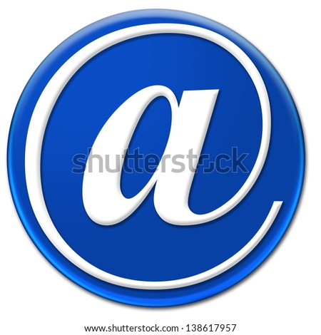 Electronic mail or At sign glassy blue button isolated over white background