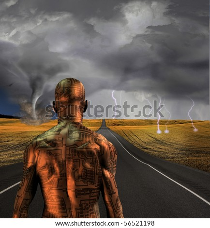Electronic man faces storm