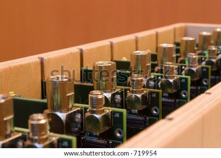 Electronic manufacturing, products in the wooden box