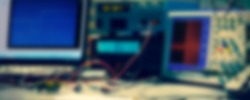 electronic measuring instruments in hitech computer laboratory, blurred background